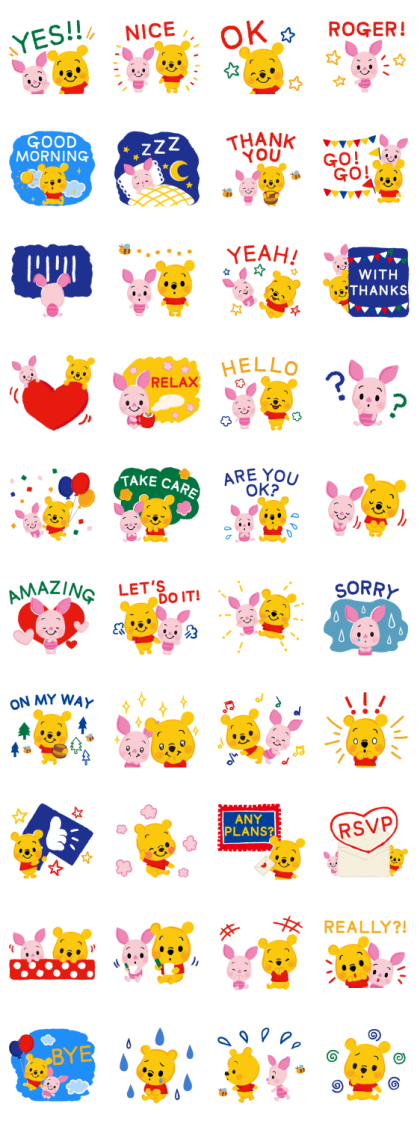Winnie the Pooh (Crayon) Line Sticker GIF & PNG Pack: Animated & Transparent No Background | WhatsApp Sticker