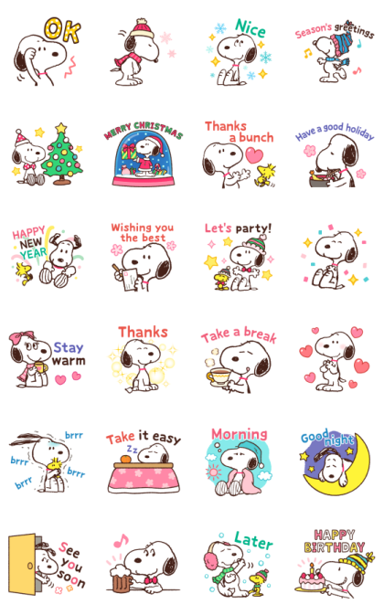Winter Snoopy Moving Backgrounds Line Sticker GIF & PNG Pack: Animated & Transparent No Background | WhatsApp Sticker