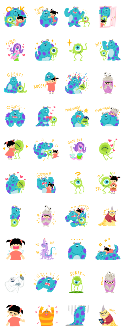 Cuddly Monsters, Inc. Line Sticker GIF & PNG Pack: Animated & Transparent No Background | WhatsApp Sticker