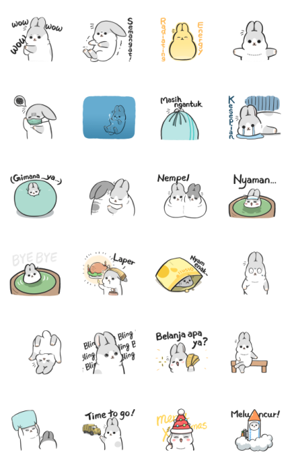 Machiko Rabbit: Too Cute Line Sticker GIF & PNG Pack: Animated & Transparent No Background | WhatsApp Sticker