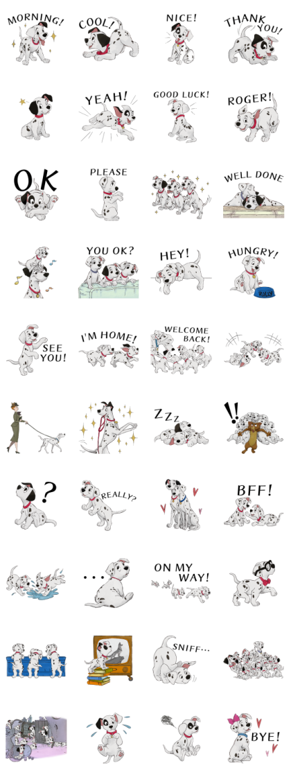 101 Dalmatians (PAID ver.) Line Sticker GIF & PNG Pack: Animated & Transparent No Background   WhatsApp Sticker