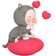 Animated Neko Towel Sticker for LINE & WhatsApp | ZIP: GIF & PNG