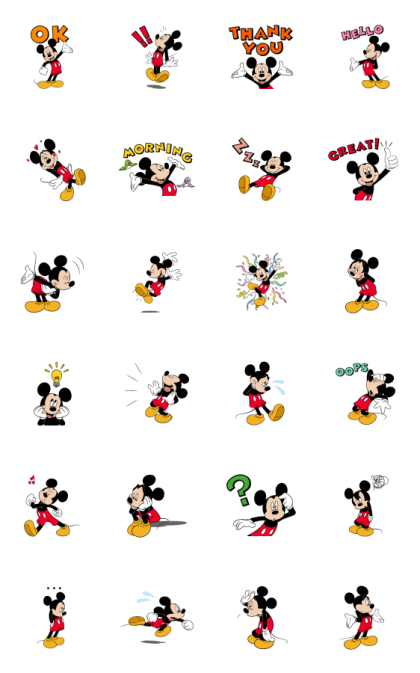 Moving Mickey Mouse Line Sticker GIF & PNG Pack: Animated & Transparent No Background   WhatsApp Sticker