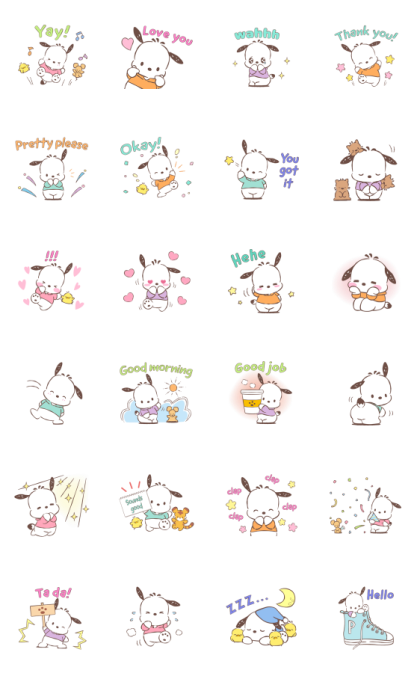 Pochacco Animated Stickers: Soft Line Sticker GIF & PNG Pack: Animated & Transparent No Background | WhatsApp Sticker