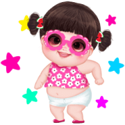 Yuan Yuan Pink Girl Sticker for LINE & WhatsApp | ZIP: GIF & PNG