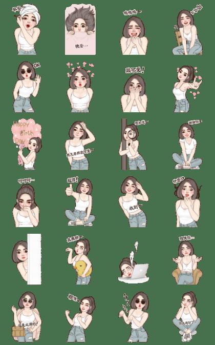 Yuri Sexy Girl Big Stickers Line Sticker GIF & PNG Pack: Animated & Transparent No Background | WhatsApp Sticker