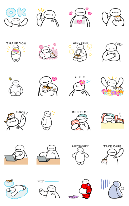 Big Hero 6 (Comfy) Line Sticker GIF & PNG Pack: Animated & Transparent No Background | WhatsApp Sticker