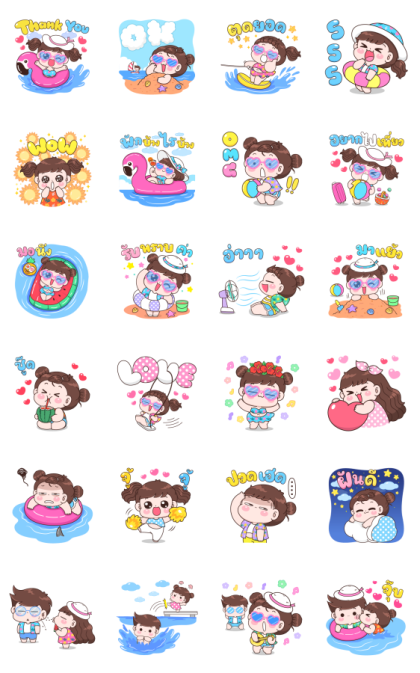 Boobib Summer Line Sticker GIF & PNG Pack: Animated & Transparent No Background | WhatsApp Sticker