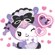 Kuromi Tsundere Cafe Sticker for LINE & WhatsApp | ZIP: GIF & PNG