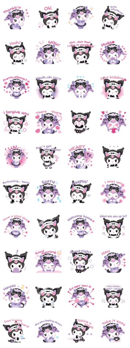 Kuromi Tsundere Cafe Line Sticker GIF & PNG Pack: Animated & Transparent No Background | WhatsApp Sticker