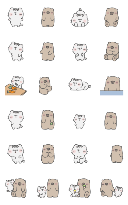 Mr. Bear and His Cutie Cat: Alert Line Sticker GIF & PNG Pack: Animated & Transparent No Background | WhatsApp Sticker