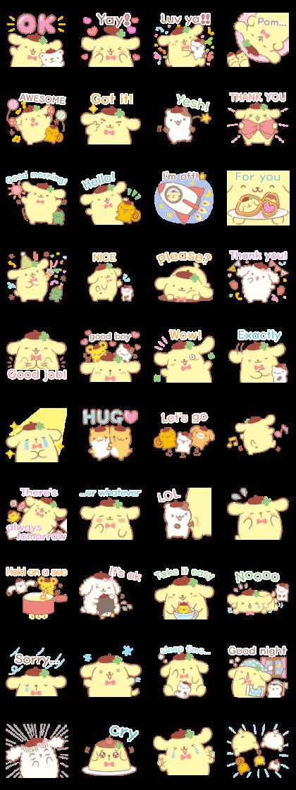 Pompompurin Celebration Line Sticker GIF & PNG Pack: Animated & Transparent No Background | WhatsApp Sticker