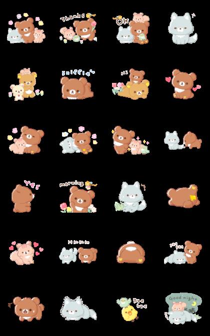 Rilakkuma: Friends of Chairoikoguma Line Sticker GIF & PNG Pack: Animated & Transparent No Background   WhatsApp Sticker