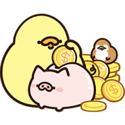 FoodieG Golden Stickers Sticker for LINE & WhatsApp | ZIP: GIF & PNG