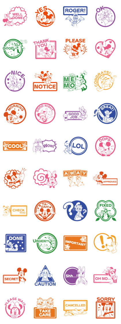 Mickey and Friends (Rubber Stamps) Line Sticker GIF & PNG Pack: Animated & Transparent No Background | WhatsApp Sticker