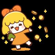 Orange Girl! (Golden Sticker) Sticker for LINE & WhatsApp | ZIP: GIF & PNG