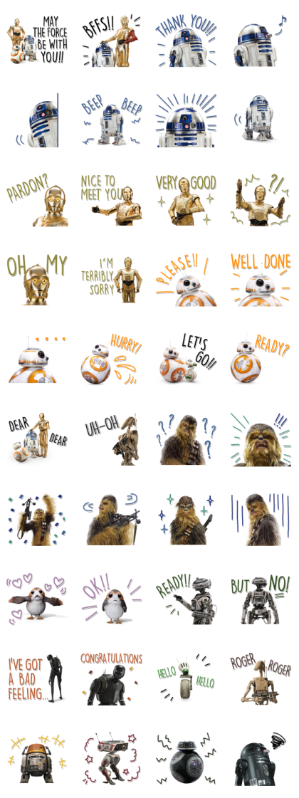 Star Wars (Favorite Characters) Line Sticker GIF & PNG Pack: Animated & Transparent No Background   WhatsApp Sticker