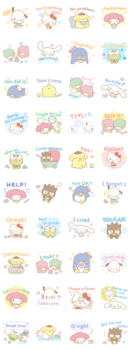 Sanrio Characters Cheer for Parents Line Sticker GIF & PNG Pack: Animated & Transparent No Background | WhatsApp Sticker