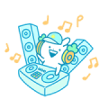 Usagyuuun Music Sticker(Summertime ver.) Sticker for LINE & WhatsApp | ZIP: GIF & PNG