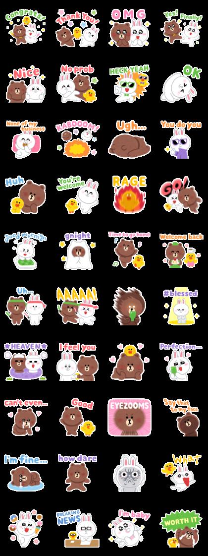 Irasutoya × BROWN Line Sticker GIF & PNG Pack: Animated & Transparent No Background | WhatsApp Sticker