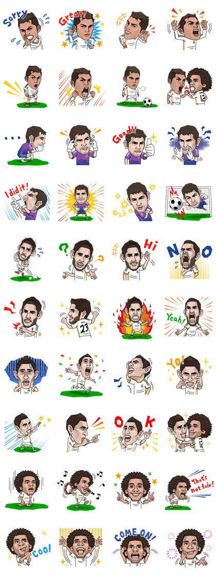 Real Madrid's Official Stickers Line Sticker GIF & PNG Pack: Animated & Transparent No Background | WhatsApp Sticker