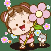 Sakura Cocoa✿Flower Stickers Sticker for LINE & WhatsApp | ZIP: GIF & PNG