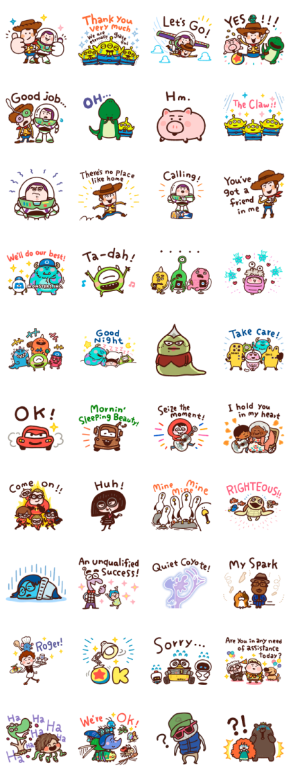 WE LOVE PIXAR by Kanahei Line Sticker GIF & PNG Pack: Animated & Transparent No Background   WhatsApp Sticker