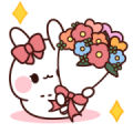 Pink Ribbon Rabbit to Convey a Feeling Sticker for LINE & WhatsApp | ZIP: GIF & PNG