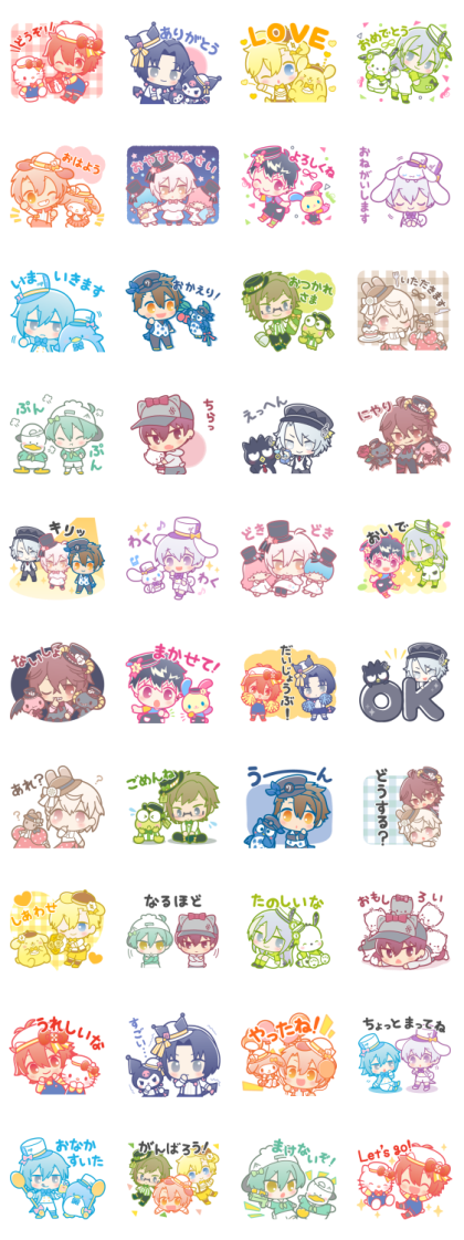 IDOLiSH7 × SANRIO CHARACTERS Line Sticker GIF & PNG Pack: Animated & Transparent No Background   WhatsApp Sticker
