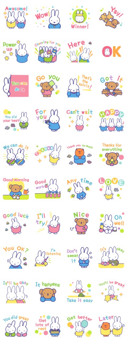 Motivational miffy Stickers Line Sticker GIF & PNG Pack: Animated & Transparent No Background | WhatsApp Sticker